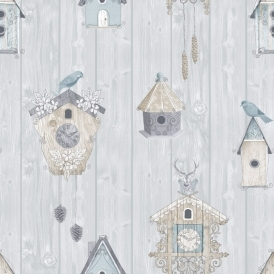 Bird Houses on Wood Panel Wallpaper Sky Blue (229004)