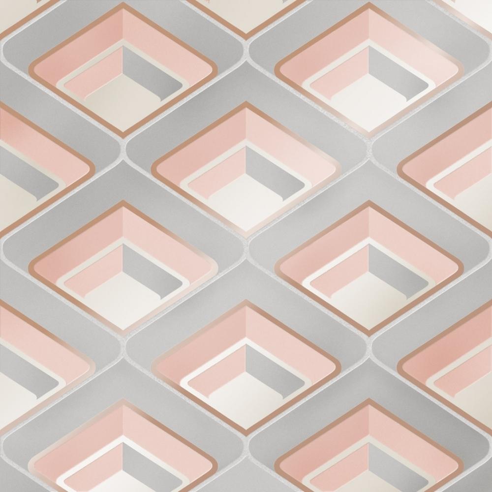 I Love Wallpaper Retro Geometric 3d Effect Wallpaper Blush Wallpaper From I Love Wallpaper Uk