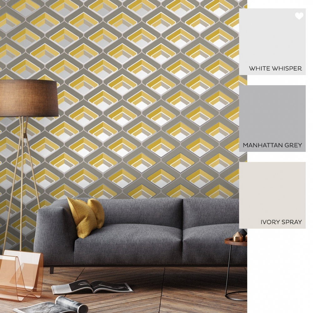 retro geometric 3d effect wallpaper mustard grey p6094 19257 image