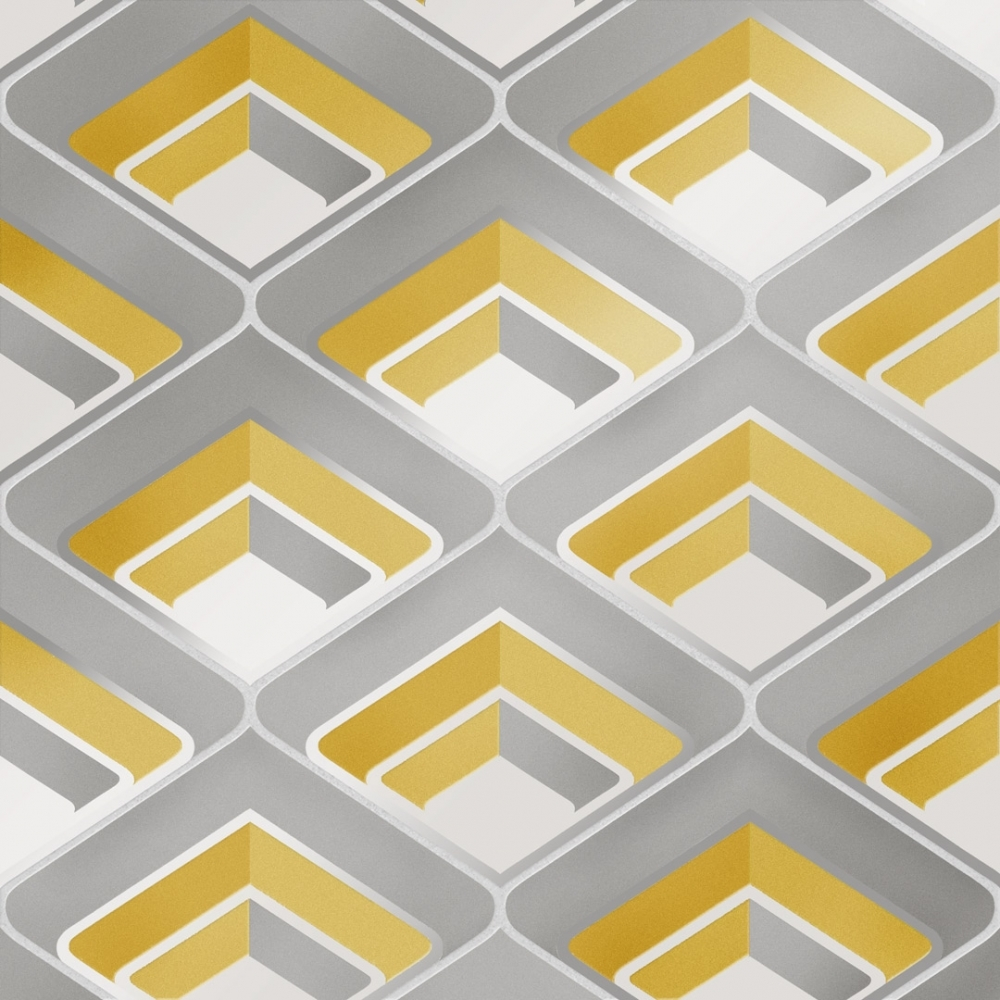 I Love Wallpaper Retro Geometric 3d Effect Wallpaper Yellow