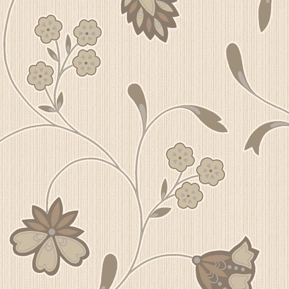 Designer Interiors Rico Floral Wallpaper Mocha Cream 75613