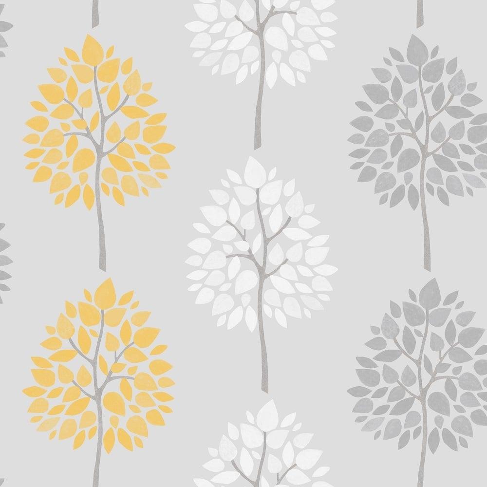 Fine Decor Riva Tree Wallpaper Yellow White Grey Wallpaper From