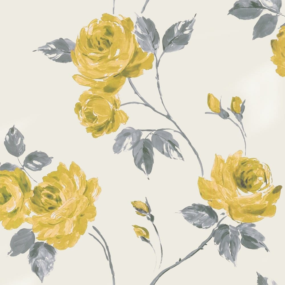 Designer Selection Romance Shabby Chic Floral Wallpaper Yellow