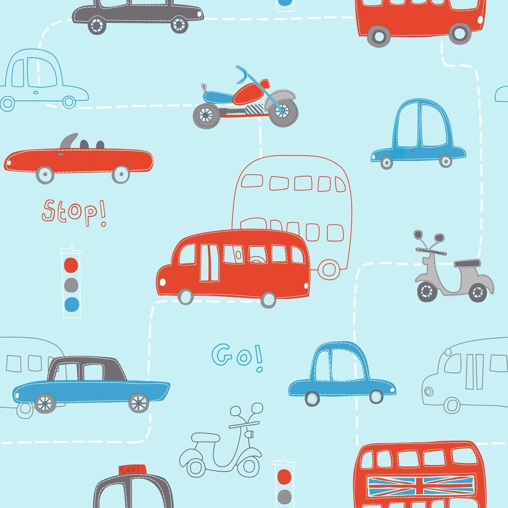 Fine Decor Hoopla Rush Hour Hoopla Wallpaper Blue Red Dl30706