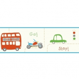 Rush Hour Hoopla Wallpaper Border Blue / Green / Red (DLB07538)