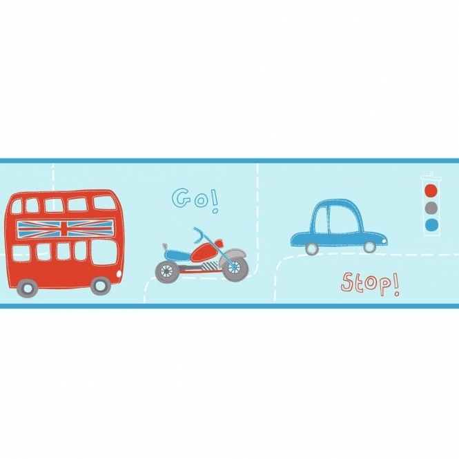 Fine Decor: Hoopla Rush Hour Hoopla Wallpaper Border Blue / Red (DLB07536)