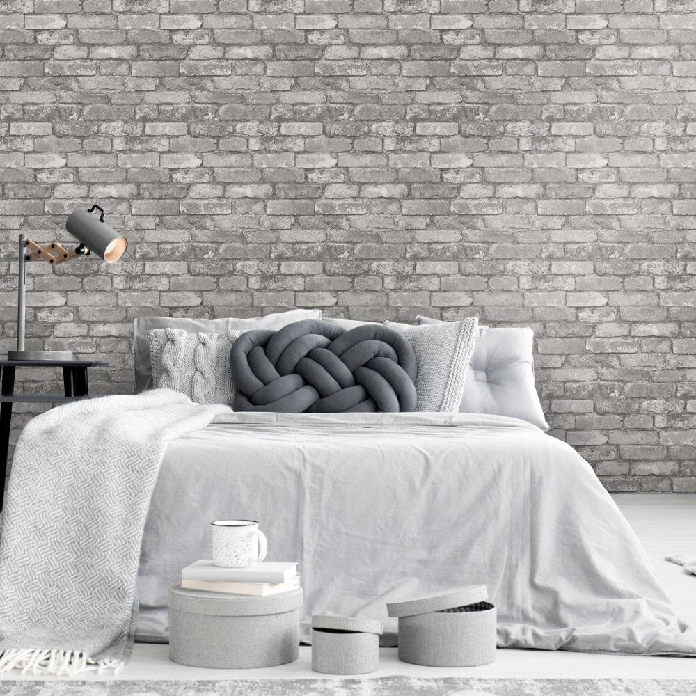 I Love Wallpaper Rustic Brick Wallpaper Silver Grey