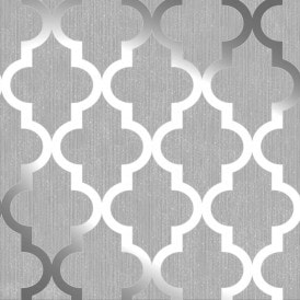 **Sample** Camden Trellis Wallpaper Soft Grey / Silver (H980527-SAMPLE)