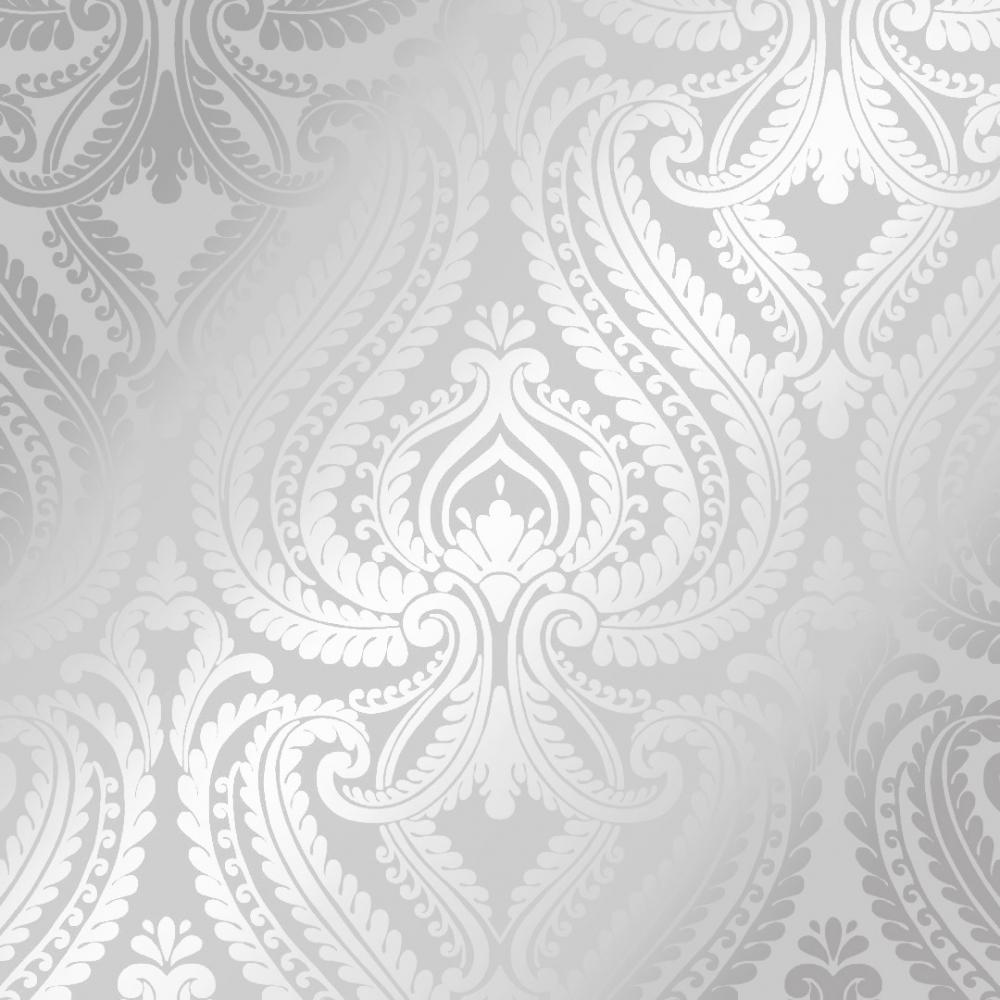 I Love Wallpaper Shimmer Damask Wallpaper Soft Grey Silver