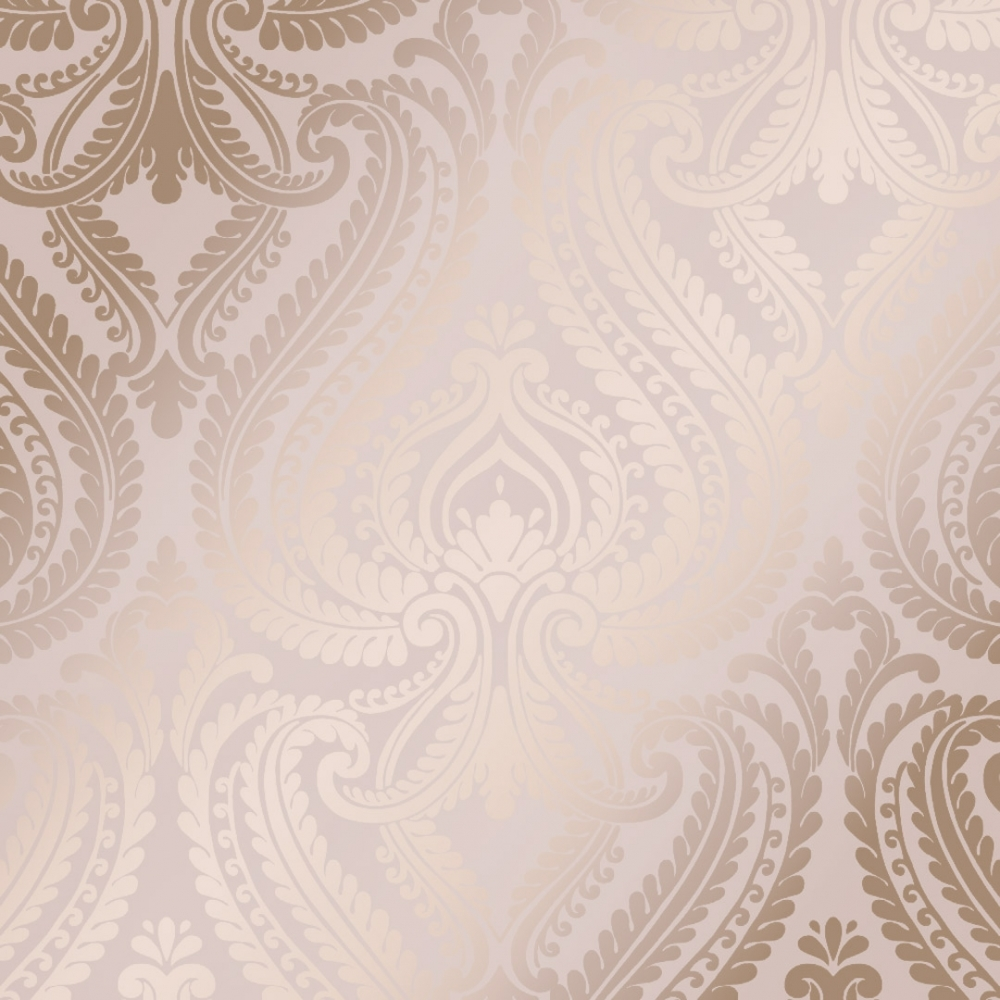 I Love Wallpaper Shimmer Damask Wallpaper Soft Pink Rose Gold