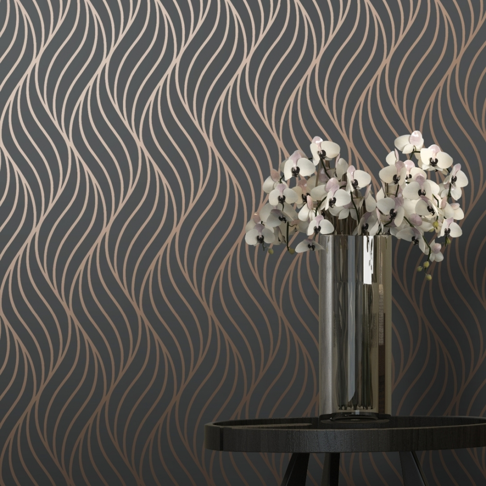 Shimmer Indulge Wallpaper Charcoal Copper 50030