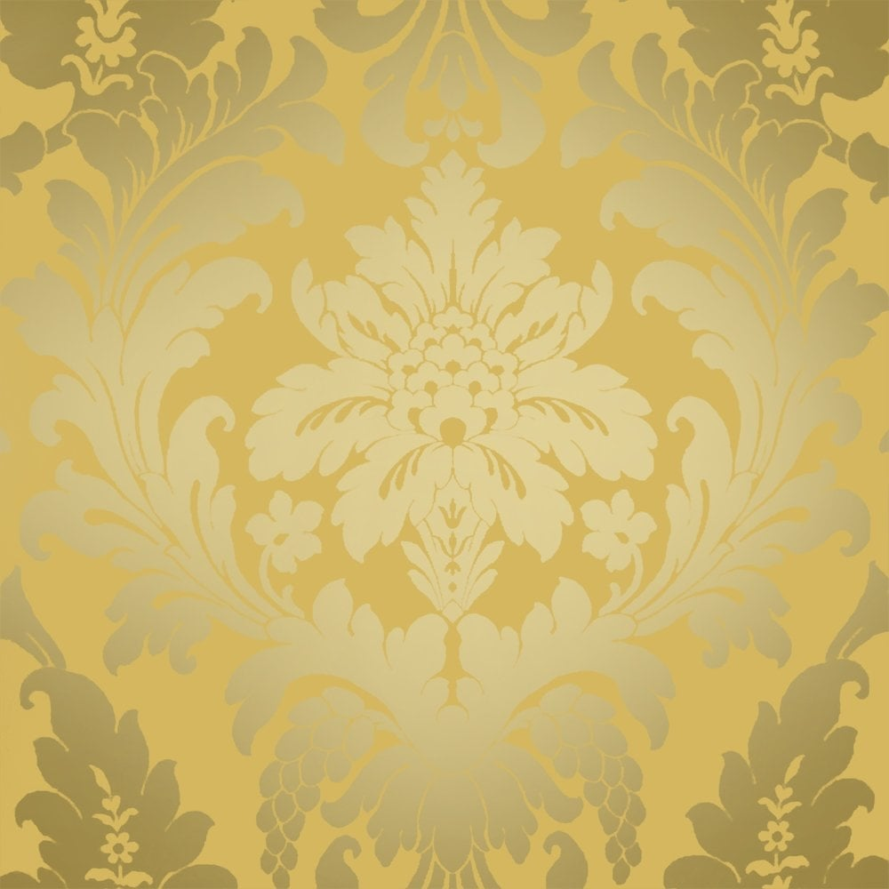 I Love Wallpaper Shimmer Metallic Grande Damask Wallpaper Mustard