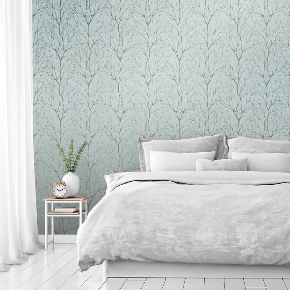 I Love Wallpaper Shimmer Tree Wallpaper Teal Silver