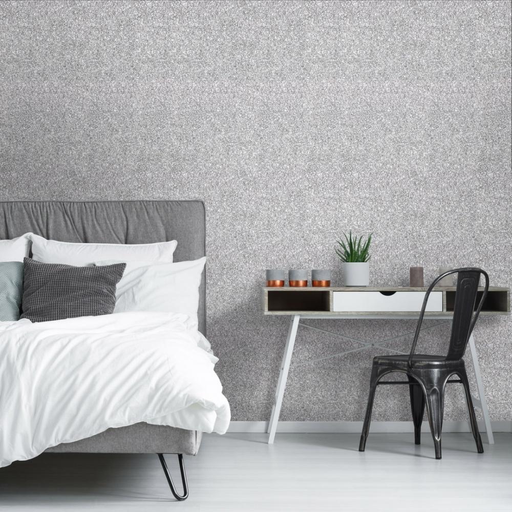 Muriva Sparkle Glitter Wallpaper Silver