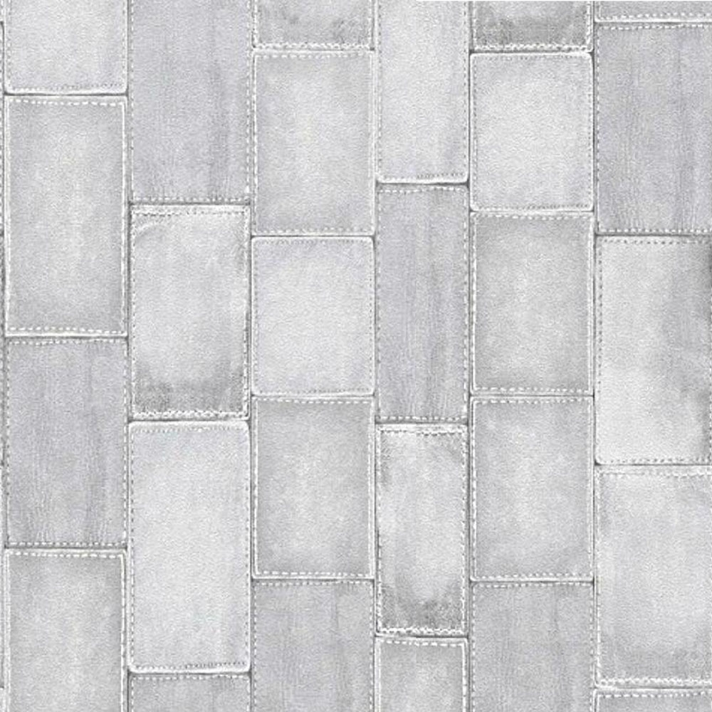 Rasch Stitched Patchwork Effect Tile Wallpaper Grey