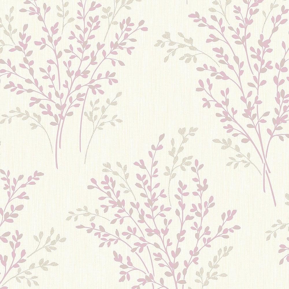 Fine Decor Summer Blossom Textured Glitter Wallpaper Lavender