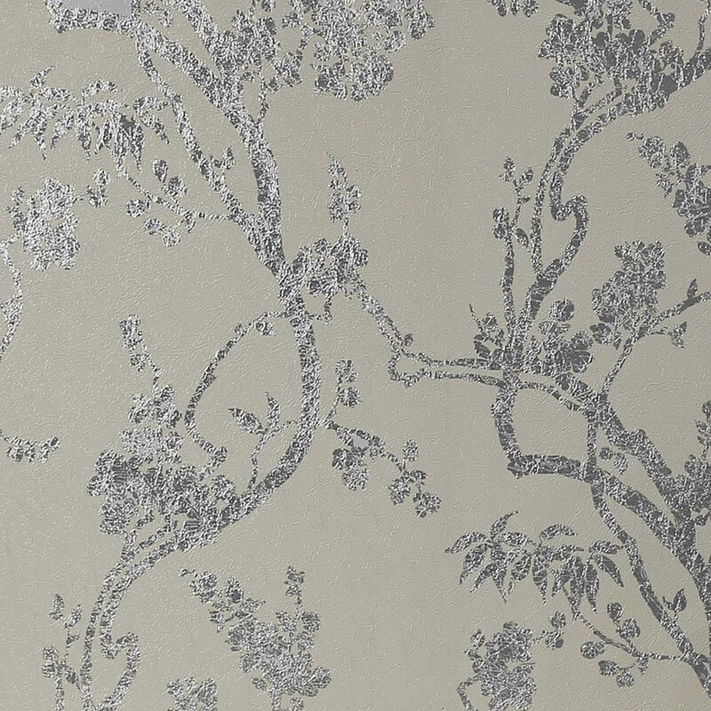 Arthouse Sundown Foil Floral Wallpaper Dove Grey Silver 901802