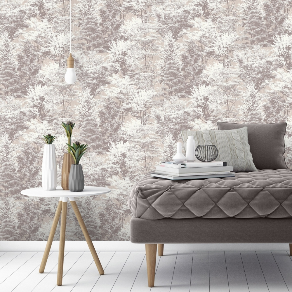 4 x Sycamore Forest Wallpaper Trees Floral Charcoal Off White Luxury Vinyl Crown