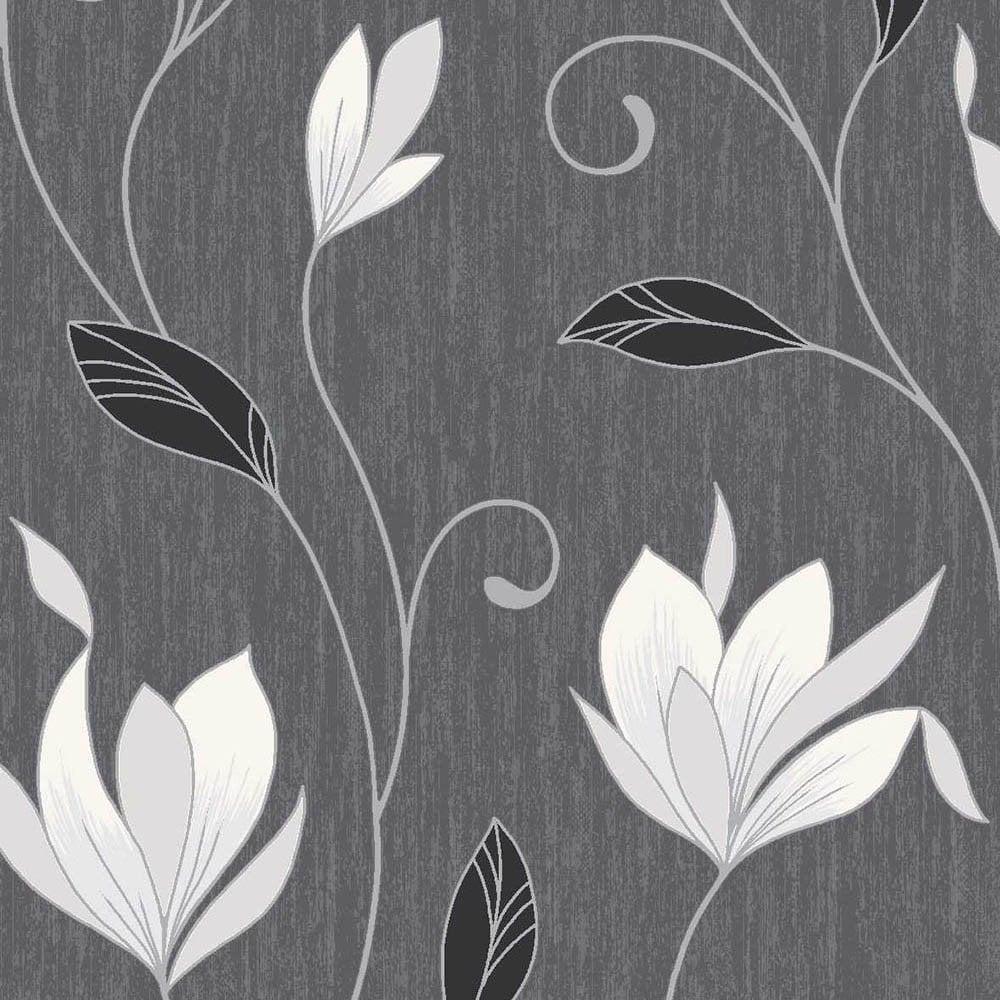 Vymura Synergy Glitter Floral Wallpaper Ebony Black White Silver