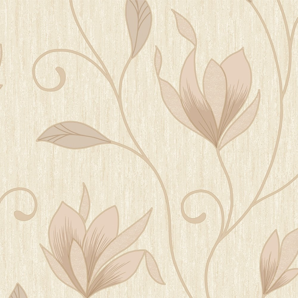 Vymura Synergy Glitter Floral Wallpaper Soft Gold Cream Beige