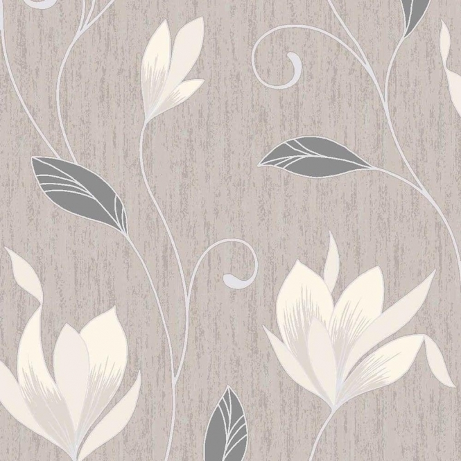 Vymura Synergy Glitter Floral Wallpaper Taupe, Cream, Silver (M0782)