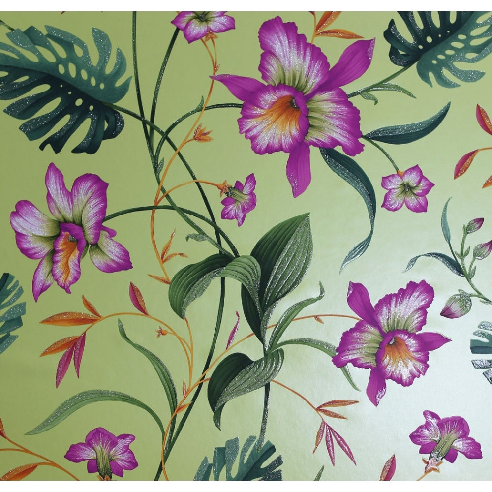 Arthouse Tahiti Tropical Floral Wallpaper Lime 699005