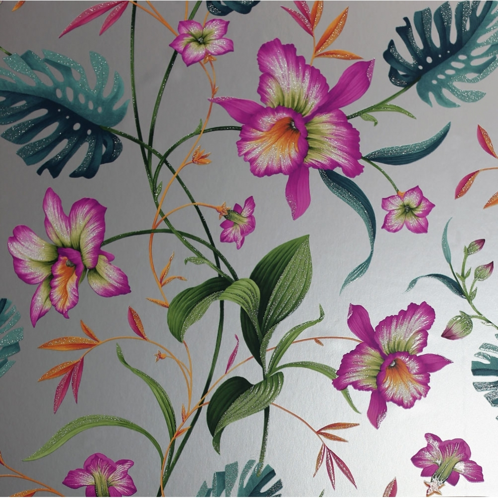 Arthouse Tahiti Tropical Floral Wallpaper Silver 699006