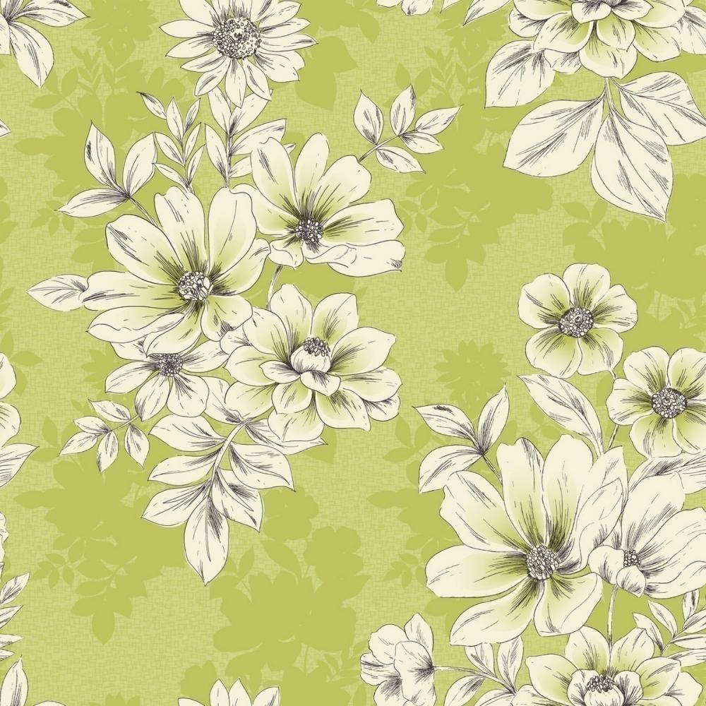 Rasch Tivoli Flower Floral Wallpaper Green 209518 Wallpaper