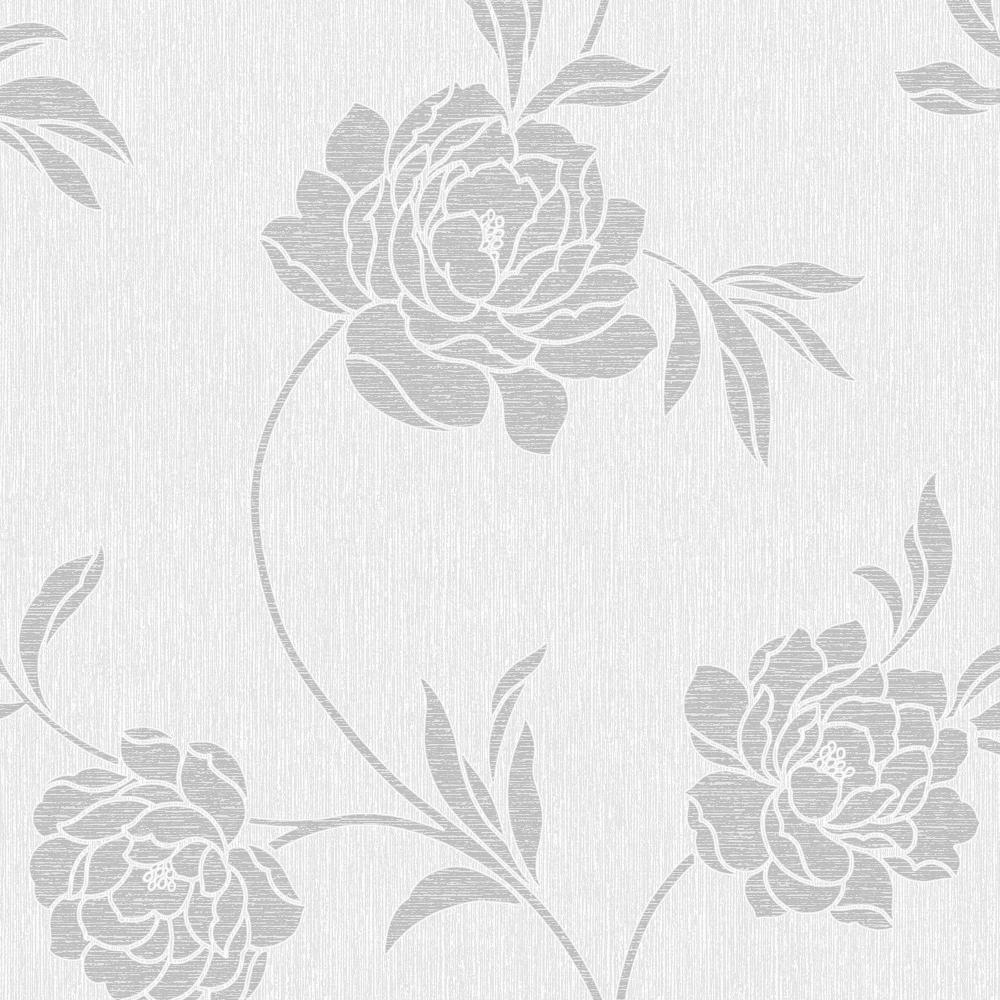 Fine Decor Torino Floral Wallpaper White Silver Fd40190