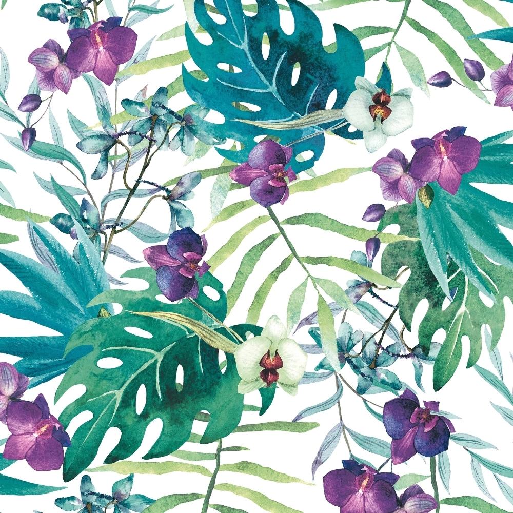 Muriva Tropical Floral Wallpaper White Multi Coloured 601557