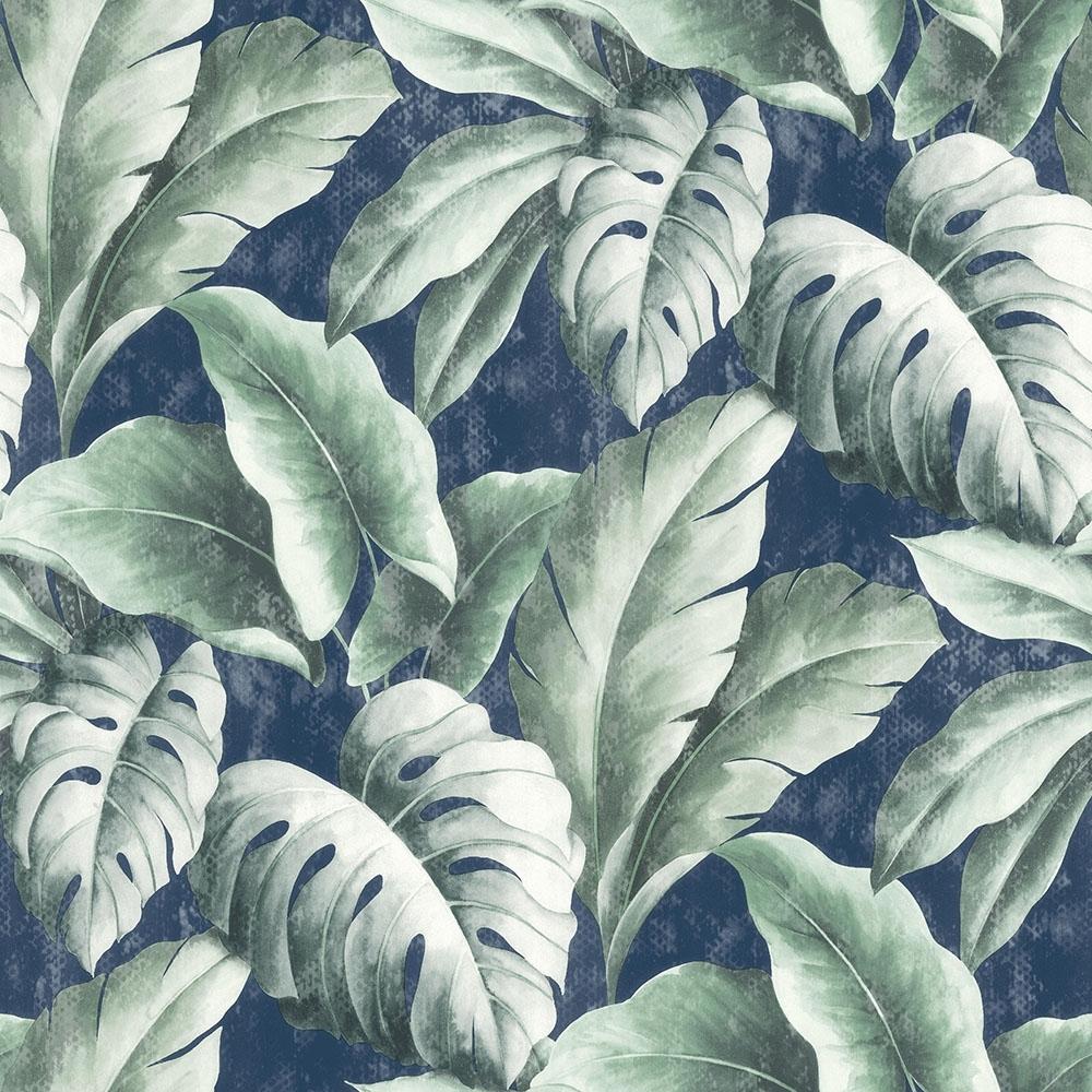 I Love Wallpaper Tropicana Floral Leaf Wallpaper Navy ...