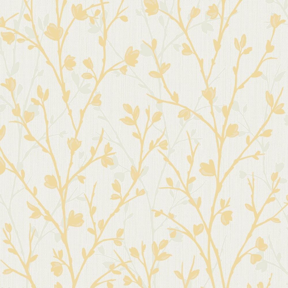 Fine Decor Twiggy Floral Wallpaper Yellow Fd42158 Wallpaper