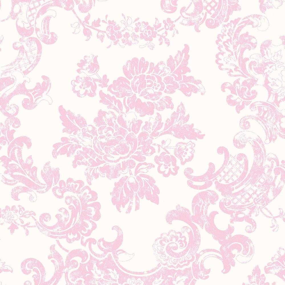 crown vintage lace wallpaper marshmallow pink (m0756) - wallpaper
