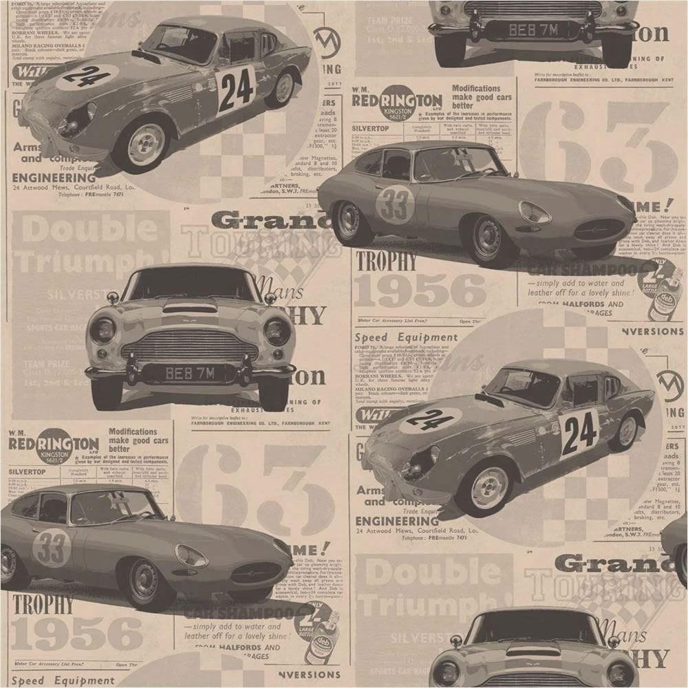 Fine Decor Vintage Race Cars Kids Bedroom Wallpaper Bronze Fd40392