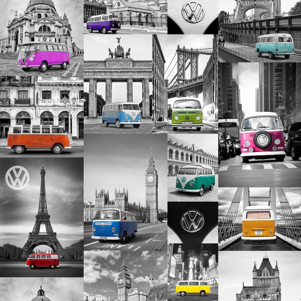 VW City Campers Wallpaper Blue Pink Orange E95011