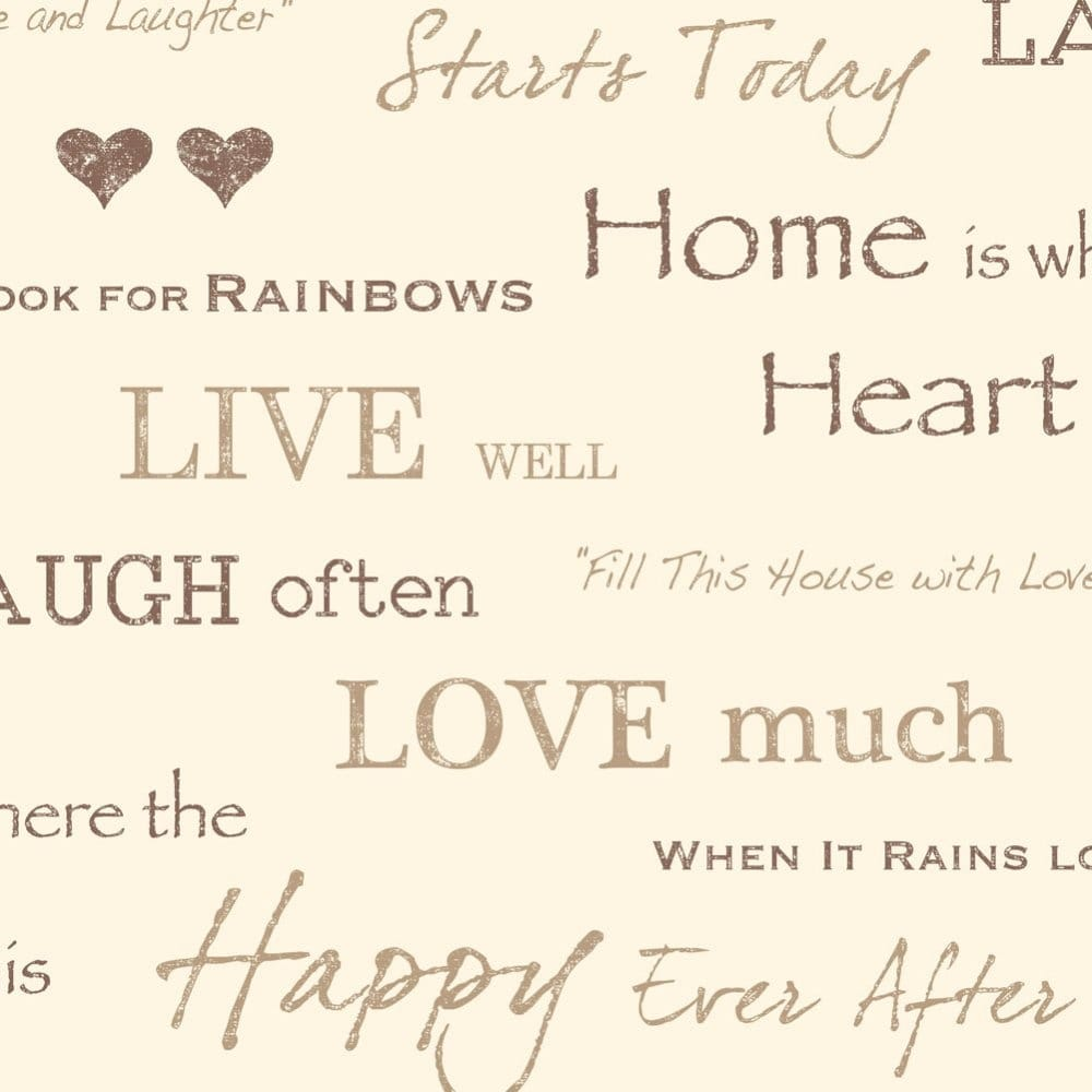 Fine Decor Wall Words Live Love Laugh Wallpaper Chocolate Gold Cream Fd40429 Wallpaper From I Love Wallpaper Uk