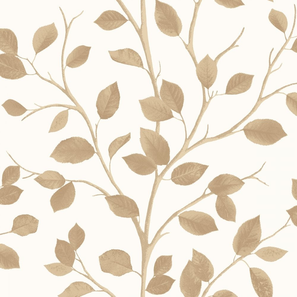 Fine Decor Woodland Leaf Wallpaper Cream Bronze Fd40671